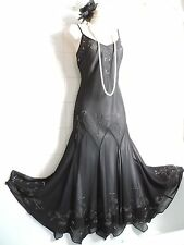 Vintage 1920's Drop Waist Deco Black Bead Sequin Charleston Flapper Gatsby Dress