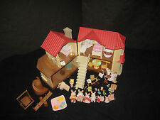 Calico Critters Townhouse Dollhouse Furniture Figures Accessories Huge Toy Lot