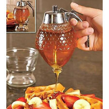 Acrylic Transparent Glass Honey Syrup Jar Dispenser Holder Container with Stand