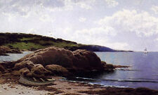 Perfect huge Oil painting Baily's Island, Maine canoe by beach free shipping