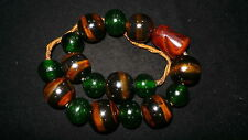 Old Nepal Tibet Ethnic Round Green & Stripe Glass Bead Necklace