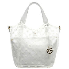 Clear WHITE Flower Embroidered See Thru 2-in-1 Shopper handbag WHITE OR BLUE