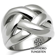 Women's Ring Fashion Cocktail Stainless Steel Silver Shiny Size 9
