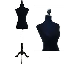Female Mannequin Torso Display Clothing Dress Form W/ Black Tripod Stand Black
