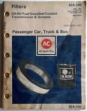 1981 AC Filters Catalog Oil-Air-Fuel-Gasoline-Coolant-Transmission-Screens O.E.M