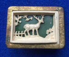 Vintage Art Deco Celluloid Plastic Stag Brooch - Scottish Animals
