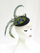 Black Green Blue Peacock Feather Pillbox Hat Headpiece Hair Fascinator Vtg 2266