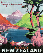 SOUTH ISLAND NEW ZEALAND LAKES TRAVEL 8 X 10 VINTAGE POSTER REPRO FREE SHIPPING
