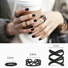 3Pc Women Girls Punk Black Stack Plain Above Knuckle Ring Midi Finger Tip Rings