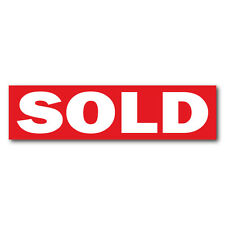 """SOLD Real Estate Sign Stickers 11.5"""" x 3"""" Weatherproof Vinyl, Red, Pack of 25"""
