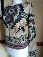 Boho Top Jumper S 10 Hippy Festival Ethnic Gypsy Psy Pixie Vintage Tribal Aztec