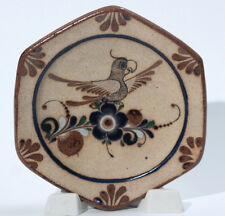Mexican Ceramic Plate Flower Hanging Hand Painted Parrot Blue Signed Artist