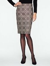 NEW $139 TALBOTS Black,Beige Byzantine Jacquard Pencil Skirt Sz 16
