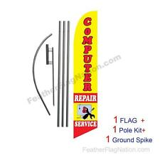 Computer Repair Feather Banner Swooper Flag Kit with pole+spike