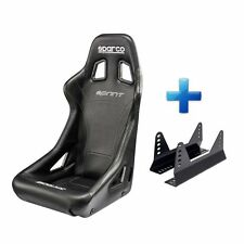 Sparco Sprint Sky Black Vinyl FIA Approved Racing Bucket Car Seat & Free Mounts!