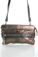 See by Chloe Brown Metallic Leather Rectangular Small Crossbody Bag