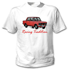 POLISH FIAT 125P RED INSPIRED RACING TRADITION - WHITE COTTON TSHIRT