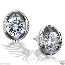 AAA Grade Round CZ Cubic Zircon High Polished Stainless Steel Earrings TK2149