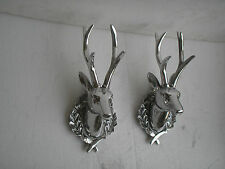 Aluminium Wall Mount Deer Head Lot of 2 pcs Stag 13 inches each Figurine Statue