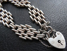 vintage hallmarked 1974 SILVER heart padlock clasp fancy chain bracelet -D366