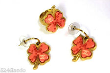 Vintage CHANEL Pink Peach Clover CC Earrings Earring & Ring Set Costume Jewelry