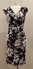 Ralph Lauren - Espresso / Cream Surplice Floral Print Stretchy Dress - Sz: 14