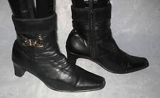 FLORENTINE SHOES Black  Side Zip Synthetic Block Mid Heel Ankle Boots Size:4/37