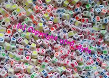 100 White & Coloured Mixed Numbers Cube Beads 6mm