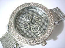 Iced Out Bling Bling Big Case Hip Hop Techno King Men's Watch Silver Item 3741