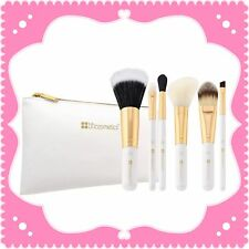 NEW BH Cosmetics 6-Piece BRIGHT WHITE Brush Set w/Zip Bag  Makeup Great Deal