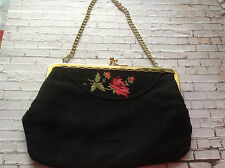 1930s 1940s black crepe floral embroidered evening bag art deco gatsby flapper