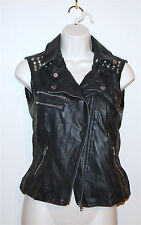 Forever 21 Junior's Size Small Studded Faux Leather Motorcycle Moto Vest Jacket