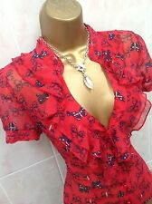 JANE NORMAN Stunning Crimson Red Blue Butterfly Sheer Ruffle Blouse Top Size 14