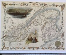 "Antique vintage colour map 1800s: East Canada, Brunswick: Tallis 13 X 9"" Reprint"