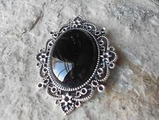 BLACK SMOOTH CABOCHON VICTORIAN PENDANT -SILVER -GOTH, GOTHIC, VAMPIRE, WITCH