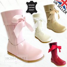 GIRLS SPANISH STYLE BOOTS REAL LEATHER RIBBON PATENT SIZES UK5-3 PINK IVORY NEW