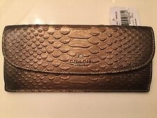 NWT COACH Authentic Metallic Glitter Gold Snakeskin Leather Soft Wallet F53641
