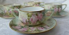 ROSENTHAL DONATELLO HAND PAINTED ROSES CREAM SOUP CUP & SAUCER SET OF 4 RARE!