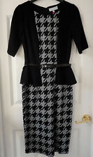 M&S Per Una Black/Grey Dogtooth Peplum Bodycon Dress with Belt, SZ 12, BNWT