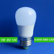 1x E27 DC 12V 1w 9 5050 SMD LED Globe Bulb Lamp Cool White for Solar System New