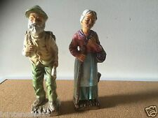 rare vintage old man and lady figurines JAPAN 1960's  granny grandpa figure