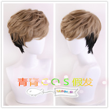 Anime Killing Stalking Oh Sangwoo Cosplay Wig Mixed Brown Black Hair Track +Cap