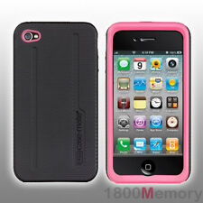 Case-Mate Tough Hybrid Case for Apple iPhone 4 S 4S Black Pink Silicone CM015587
