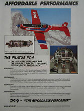 4/1990 PUB PILATUS PC-9 TRAINER SUISSE ALPES AIRCRAFT FLUGZEUG ORIGINAL AD