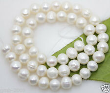 """7-8mm Genuine Natural White Real Freshwater Pearl Roundel loose Beads 15""""AAA"""