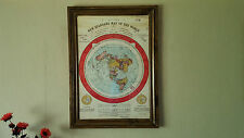 Flat Earth Gleasons map 1892 **FRAMED** Complete 100%  Authentic Handmade