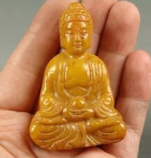 Antique Old Hand Carved Chinese Oriental Amulet Buddha Jade Miao Buddhist Statue