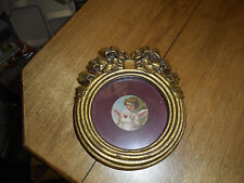 Vintage Valentine Angel Wall Hanging Small Gold Frame Victorian