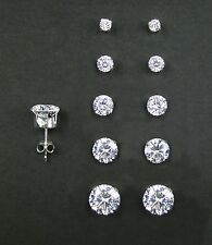 Set of 5 Pairs (RD2mm, 3mm, 4mm, 5mm, and 6mm) 925 Sterling Silver Stud Earrings