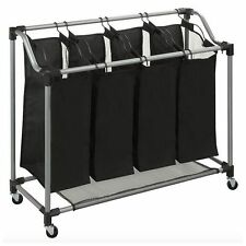 Quad 4 Bag Basket Laundry Sorter Hamper Bin Storage Organizer Rolling Cart New
